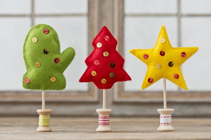addobbi natalizi fai da te feltro, decorazioni natalizie feltro, idee feltro natale