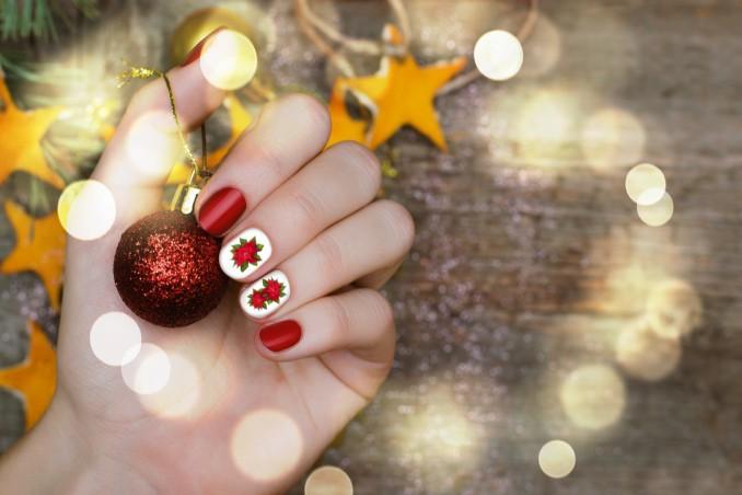 nail art, stella di Natale, decorazione Poinsettia