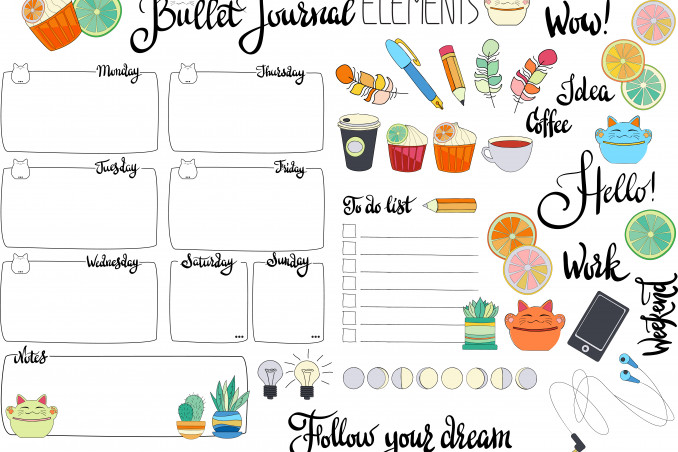 bullet journal idee da stampare, bullet journal