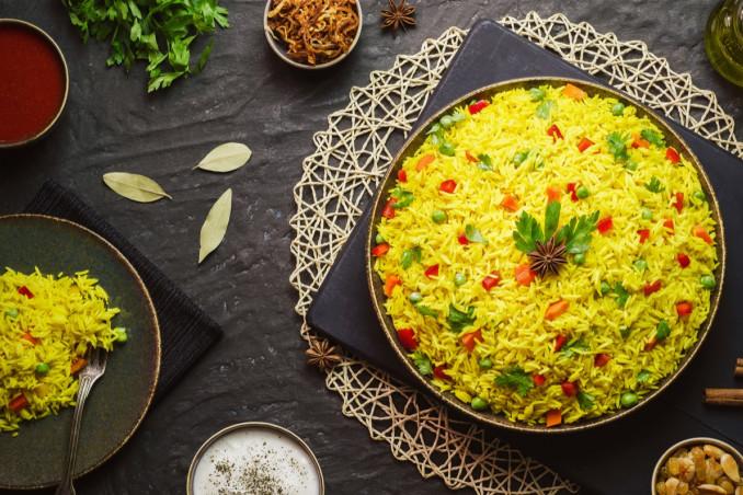 basmati, curry, verdure