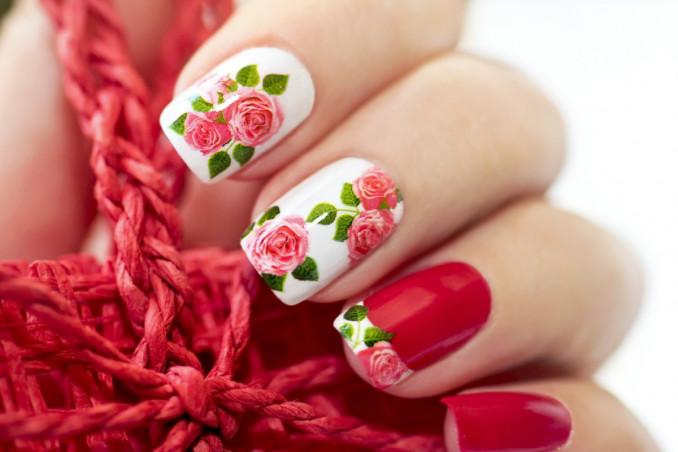 nail art, rose, decorazione unghie