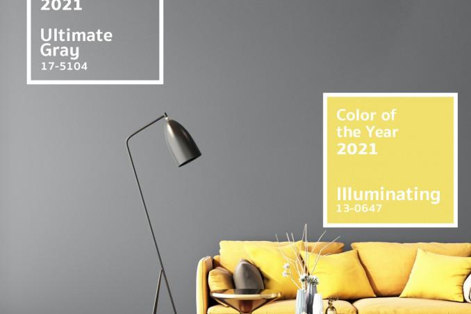 Pantone colore 2021, giallo e grigio, casa