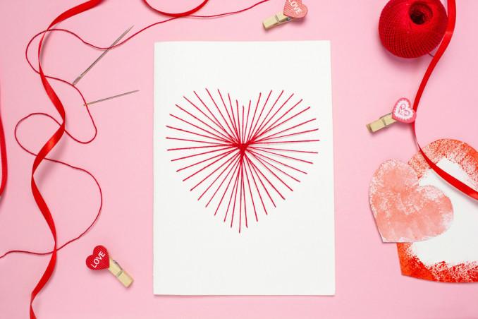 biglietto san valentino fai da te ricamo cartoncino, biglietto san valentino fai da te, ricamo cartoncino